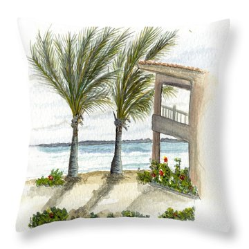 Throw Pillow featuring the digital art Cayman Hotel by Darren Cannell