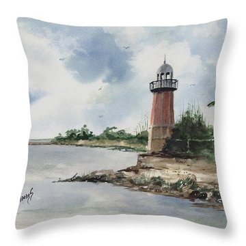 Throw Pillow featuring the painting Cayman Lighthouse by Sam Sidders