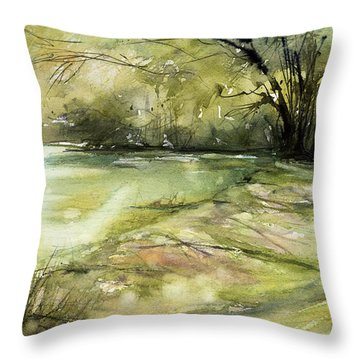 Caz Lake Rest Stop Throw Pillow by Judith Levins