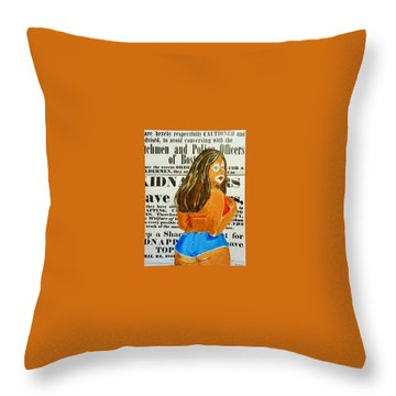Cece Caution Throw Pillow by Deedee Williams