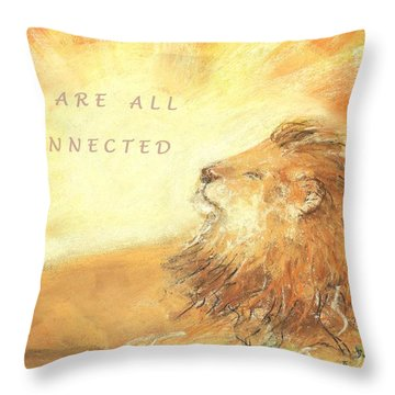 Throw Pillow featuring the drawing Cecil The Lion by Denise Fulmer