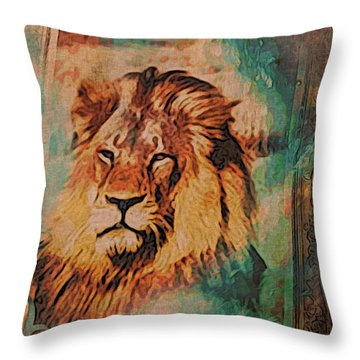 Throw Pillow featuring the digital art Cecil The Lion by Kathy Kelly