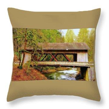Cedar Creek Grist Mill Covered Bridge Throw Pillow