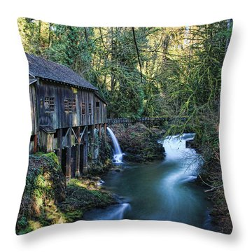 Cedar Creek Grist Mill Throw Pillow by John Bushnell