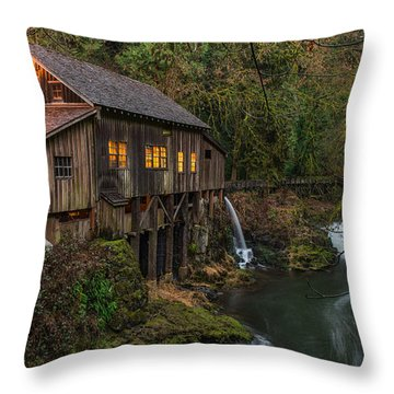 Cedar Grist Mill Throw Pillow