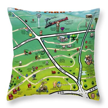 Cedar Park Texas Cartoon Map Throw Pillow by Kevin Middleton