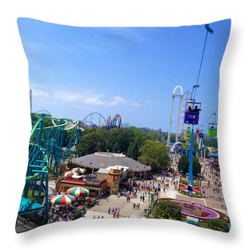 Cedar Point Amusement Park Throw Pillow