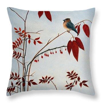Cedar Waxwing Throw Pillow by Laura Tasheiko