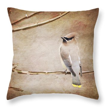 Cedar Waxwing Painting Effect Throw Pillow by Heidi Hermes