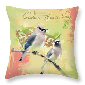 Throw Pillow featuring the photograph Cedar Waxwing Watercolor Photo by Heidi Hermes