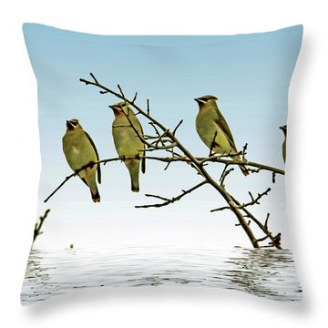 Cedar Waxwings On A Branch Throw Pillow by Geraldine Scull