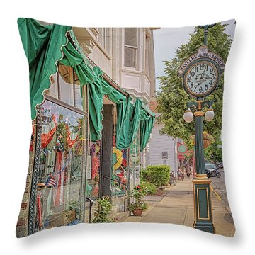Cedarburg Street Clock Throw Pillow