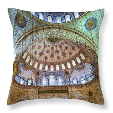 Ceiling Of Blue Mosque Throw Pillow