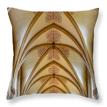 Throw Pillow featuring the photograph Ceiling, Wells Cathedral. by Colin Rayner