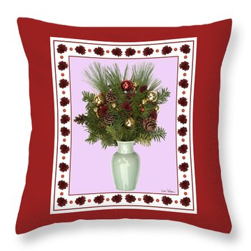 Celadon Vase With Christmas Bouquet Throw Pillow