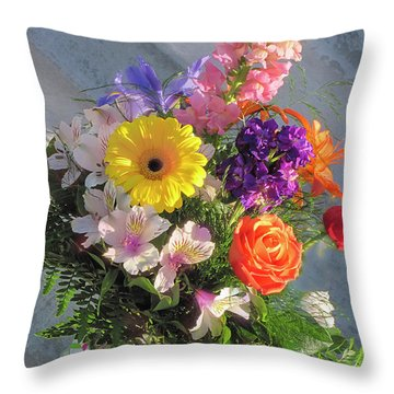 Throw Pillow featuring the photograph Celebrate With A Bright Bouquet by Nancy Lee Moran
