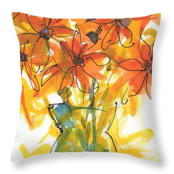 Celebration Of Sunflowers Watercolor Painting By Kmcelwaine Throw Pillow