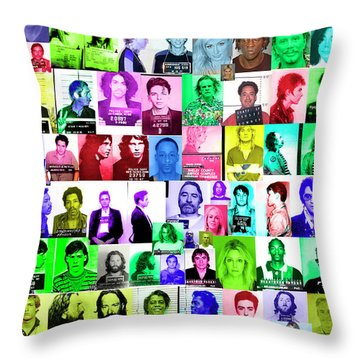 Celebrity Mugshots Throw Pillow by Jon Neidert