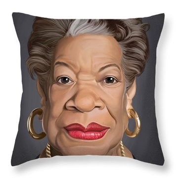 Throw Pillow featuring the drawing Celebrity Sunday - Maya Angelou by Rob Snow