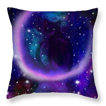 Celestial Crescent Moon Cat  Throw Pillow