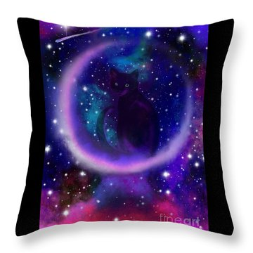 Throw Pillow featuring the painting Celestial Crescent Moon Cat  by Nick Gustafson