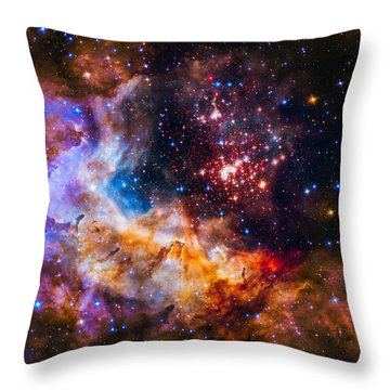 Celestial Fireworks Throw Pillow by Marco Oliveira
