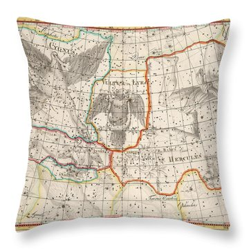 Celestial Map - Map Of The Constellations - Cygnus, Hercules, Lyra - Astronomical Chart Throw Pillow