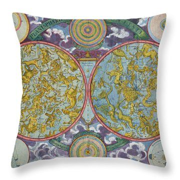 Celestial Map Of The Planets Throw Pillow by Georg Christoph Eimmart
