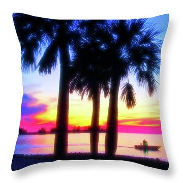 Throw Pillow featuring the photograph Celestial Skies Beach Sunset by Aimee L Maher Photography and Art Visit ALMGallerydotcom