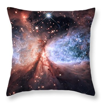 Throw Pillow featuring the photograph Celestial Snow Angel - Enhanced - Sharpless 2-106 by Adam Romanowicz