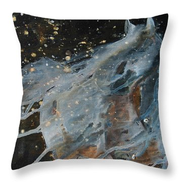 Throw Pillow featuring the painting Celestial Stallion  by Jani Freimann