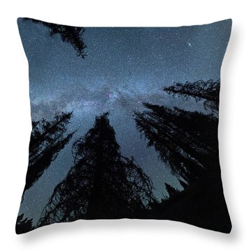 Throw Pillow featuring the photograph Celestial Starlight In The Forest Near  Lake Irene Colorado by OLena Art Brand