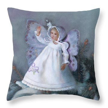 Throw Pillow featuring the painting Celestine Snow Fairy by Nancy Lee Moran