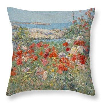 Celia Thaxter's Garden, Isles Of Shoals, Maine Throw Pillow