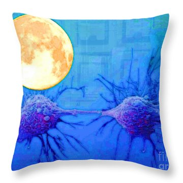 Cell Division Under Full Moon Throw Pillow
