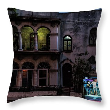Throw Pillow featuring the photograph Cell Phone Shop Havana Cuba by Charles Harden