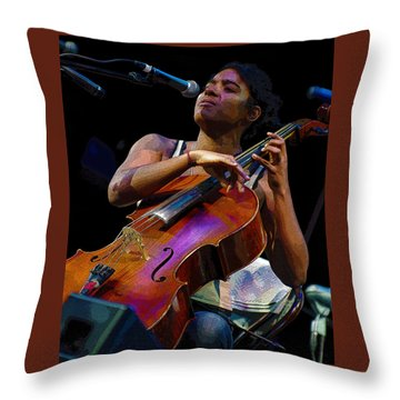 Cellist Throw Pillow by Jim Mathis
