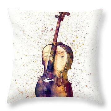 Cello Abstract Watercolor Throw Pillow