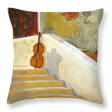 Throw Pillow featuring the painting Cello No 3 by Richard Le Page