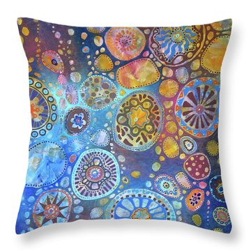 Cellular Fantasy I Throw Pillow by Anne Havard