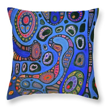 Cellular Fantasy In Blue Throw Pillow by Anne Havard