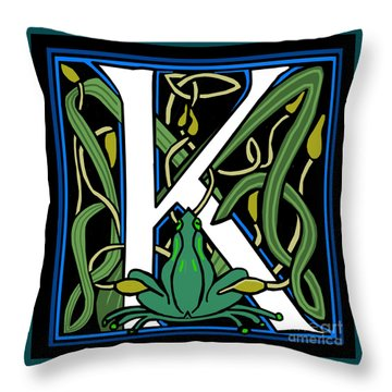 Throw Pillow featuring the digital art Celt Frog Letter K by Donna Huntriss