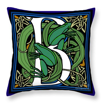 Throw Pillow featuring the digital art Celt Frogs Letter B by Donna Huntriss