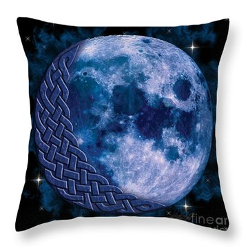 Throw Pillow featuring the mixed media Celtic Blue Moon by Kristen Fox