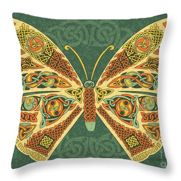 Throw Pillow featuring the mixed media Celtic Butterfly by Kristen Fox