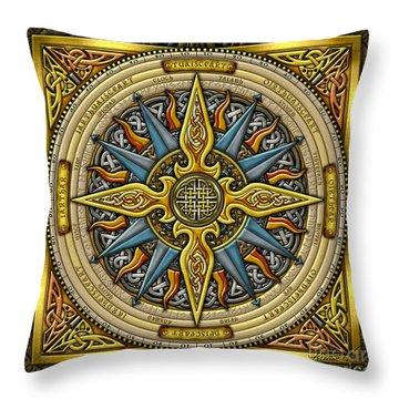 Celtic Compass Throw Pillow by Kristen Fox