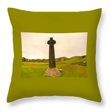 Celtic Cross, Isle Of Iona Throw Pillow