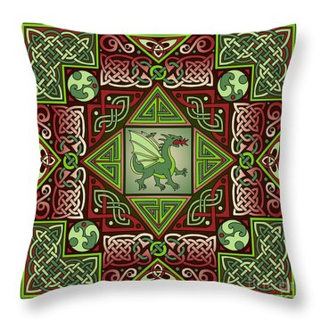 Throw Pillow featuring the mixed media Celtic Dragon Labyrinth by Kristen Fox