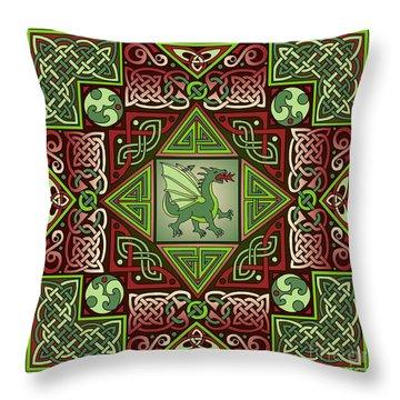 Celtic Dragon Labyrinth Throw Pillow