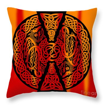 Celtic Dragons Fire Throw Pillow